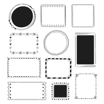 Collection de décoration de cadre doodle dessinés à la main
