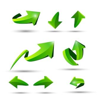 Collection de defference 3d brillance verte flèche