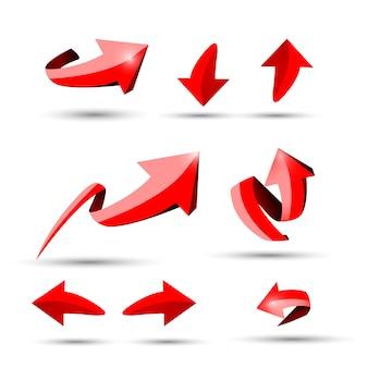 Collection de defference 3d flèche de brillance rouge