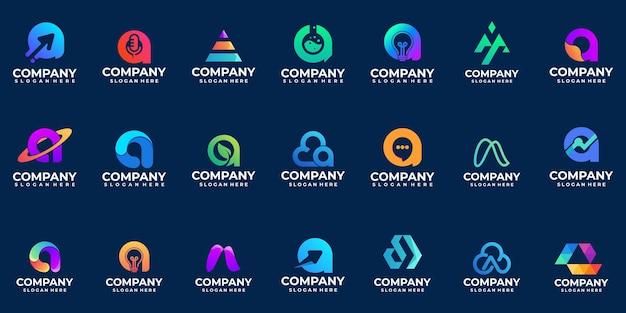Collection de dégradé abstrait lettre a logo, logo moderne, initiale, alphabet,
