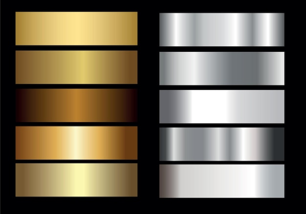 Collection de dégradé brillant et métal doré argent doré, illustration