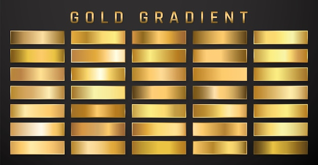 Collection de dégradé métallique doré. assiettes brillantes à effet or.