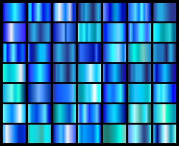 Collection De Dégradés Bleus Vecteur Premium