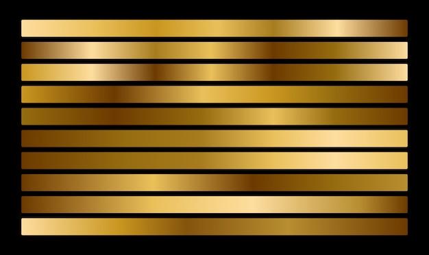 Collection de dégradés en métal doré et ensemble de texture de feuille d'or.