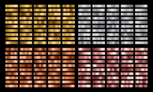 Collection de dégradés en métal or, argent, rose, orange et ensemble de texture de feuille d'or.