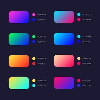 Collection de dégradés de vecteur coloré brillant abstrait