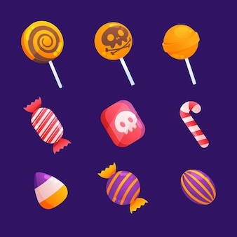 Collection de délicieux bonbons effrayants