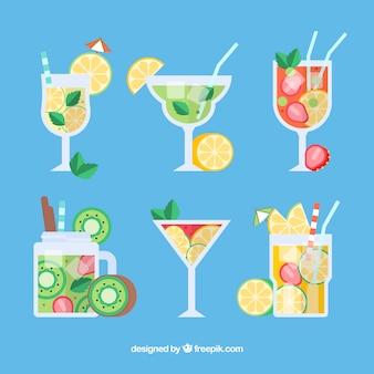 Collection de délicieux cocktails dans un style plat