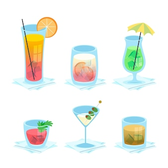 Collection de délicieux cocktails dessinés à la main
