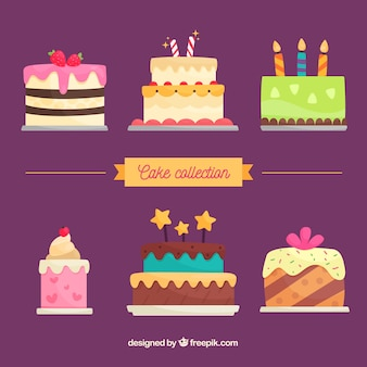 Collection de délicieux gâteaux d'anniversaire dans le style plat