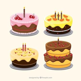 Collection de délicieux gâteaux dans un style dessiné à la main