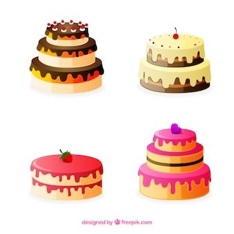 Collection de délicieux gâteaux avec glaçage