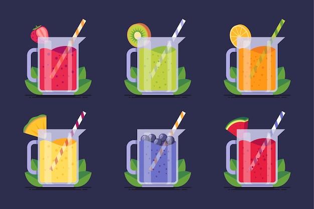 Collection de délicieux smoothies en verre