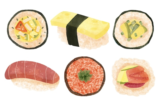 Collection de délicieux sushis aquarelle