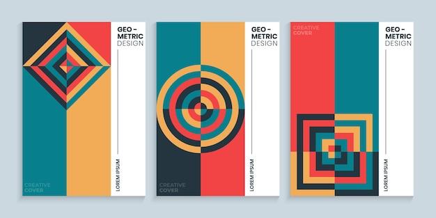 Collection de design de couverture bauhaus vintage rétro avec des formes géométriques