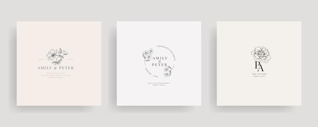 Collection de design floral de logo de mariage