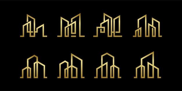 Collection de design d'icône de logo de bâtiment