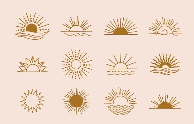 Collection de design de ligne avec design soleil
