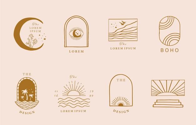 Collection de design de ligne avec soleil, mer, vague