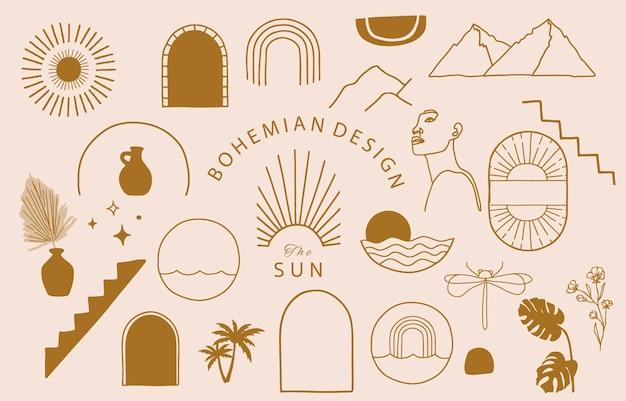 Collection de design de ligne avec soleil, montagne.