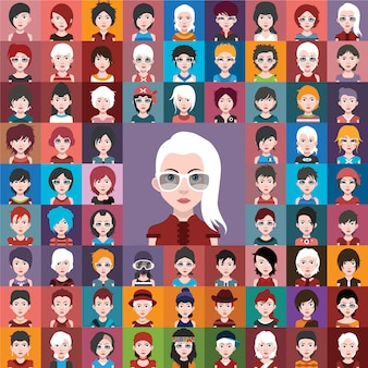 Collection de design de personnage aléatoire