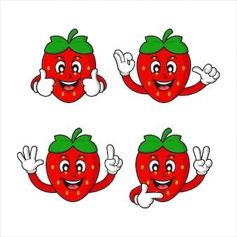 Collection de design de personnage aux fraises