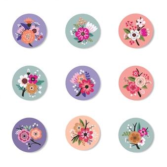 Collection de design de pin avec beautiful floral