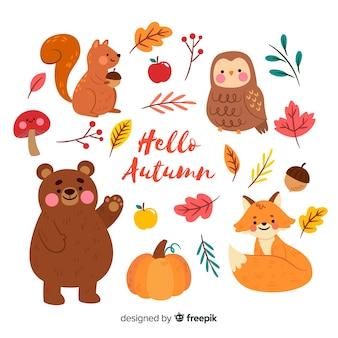 Collection de design plat animaux de la forêt en automne