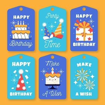 Collection de design plat badge étiquette anniversaire