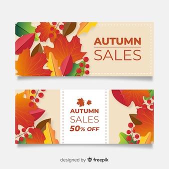 Collection de design plat de bannière de vente automne