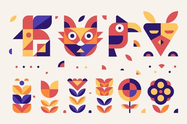 Collection de design plat d'éléments géométriques simples