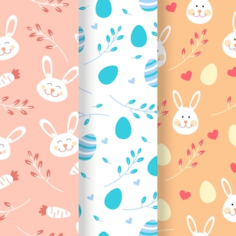 Collection de design plat motif de jour de pâques