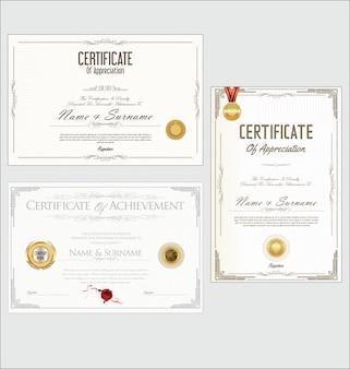Collection de design rétro certificat ou diplôme