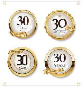 Collection design vintage rétro anniversaire étiquettes dorées