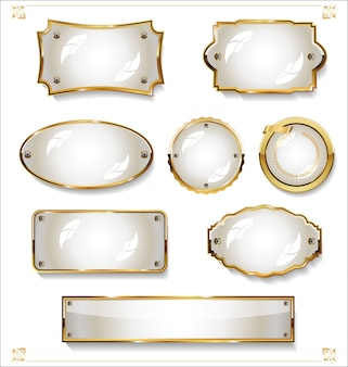 Collection de design vintage rétro des étiquettes blanches vides d'or