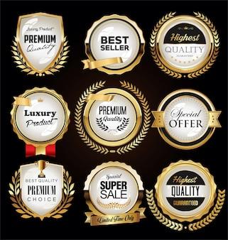Collection de design vintage rétro d'étiquettes de luxe dorées