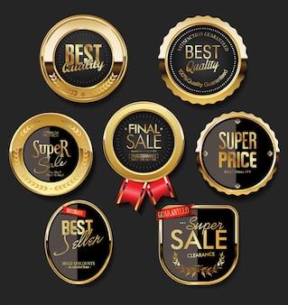 Collection de design vintage rétro d'étiquettes de vente d'or