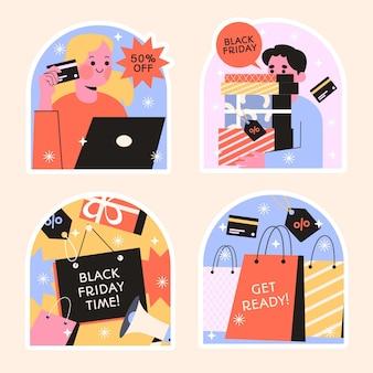 Collection de designs d'autocollants naïfs du vendredi noir