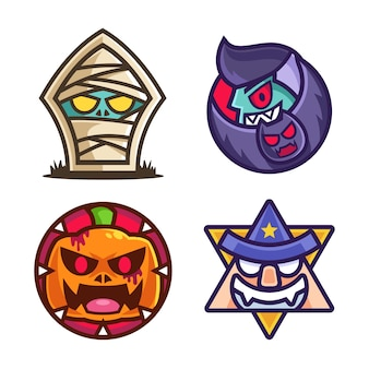 Collection de designs d'autocollants de personnages d'halloween