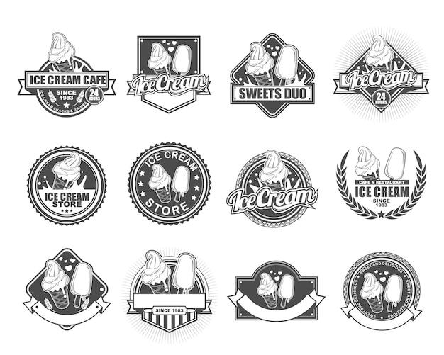 Collection de designs de badge vectoriel définie pour ice cream cafe