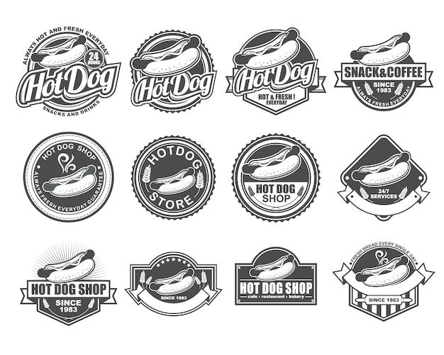 Collection de designs de badges de vecteur définie pour hot dog shop