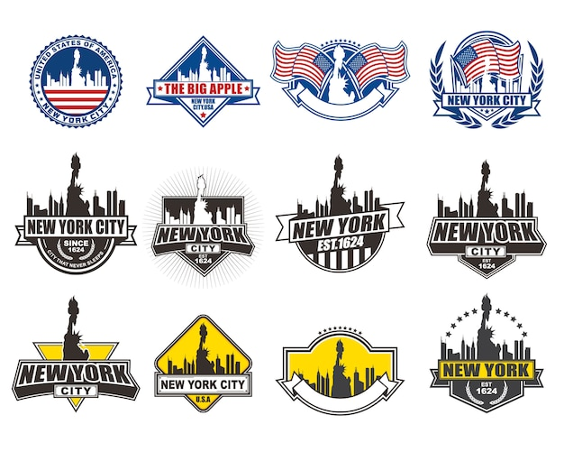 Collection de designs de badges vectoriels sertie de thème de new york