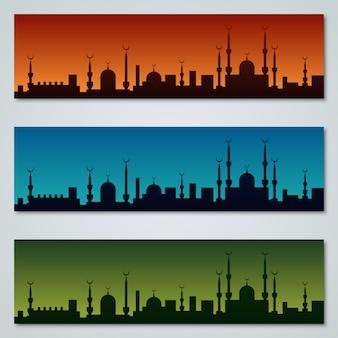 Collection de designs de bannières islamiques colorés vector