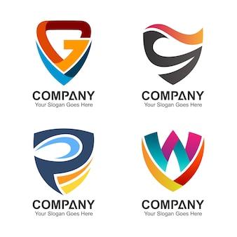Collection de designs de logo de bouclier lettre initiale