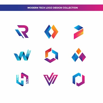 Collection de designs de logo tech moderne