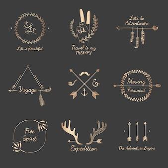 Collection de designs de voyage dessinés à la main