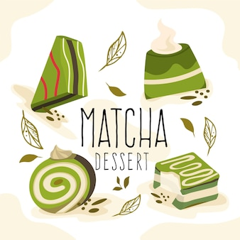 Collection de desserts au matcha