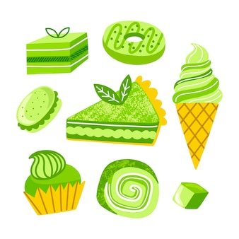 Collection de desserts au matcha