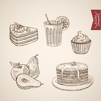Collection de desserts de cafétéria dessinés à la main vintage de gravure.