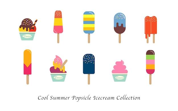 Collection de desserts colorés sucrés de crème glacée d'été cool